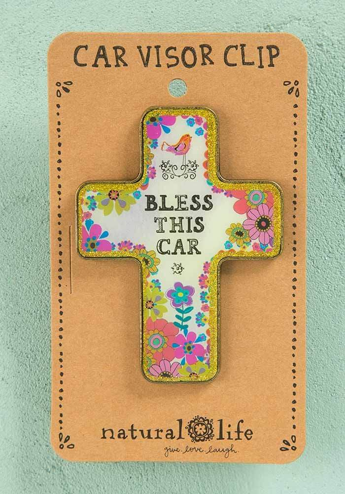 Bless This Car Cross Visor Clip By Natural Life Little Green Apple