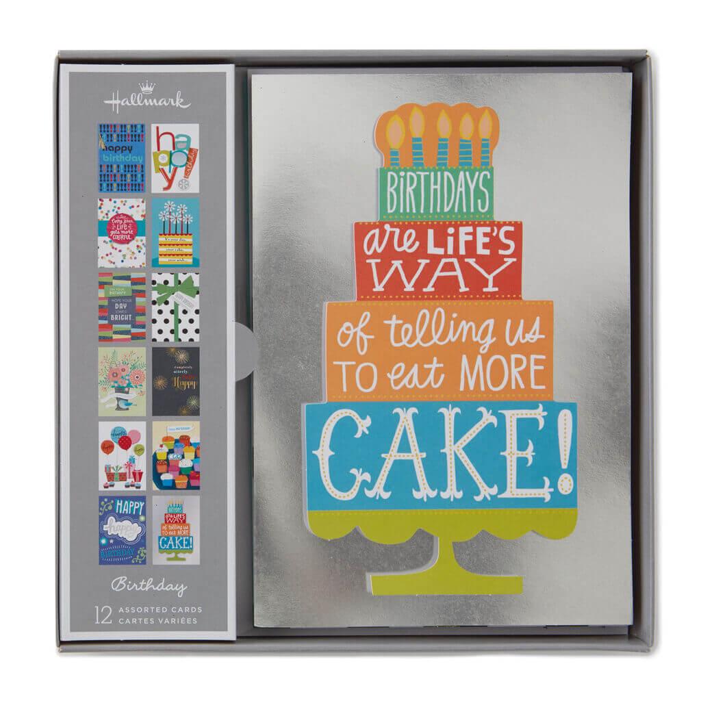 Assorted Birthday Cards, Box Of 12, By Hallmark